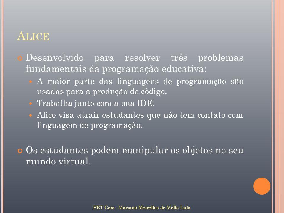 A LICE Desenvolvido para resolver três problemas fundamentais da programação educativa: A maior parte das linguagens de programação são usadas para a