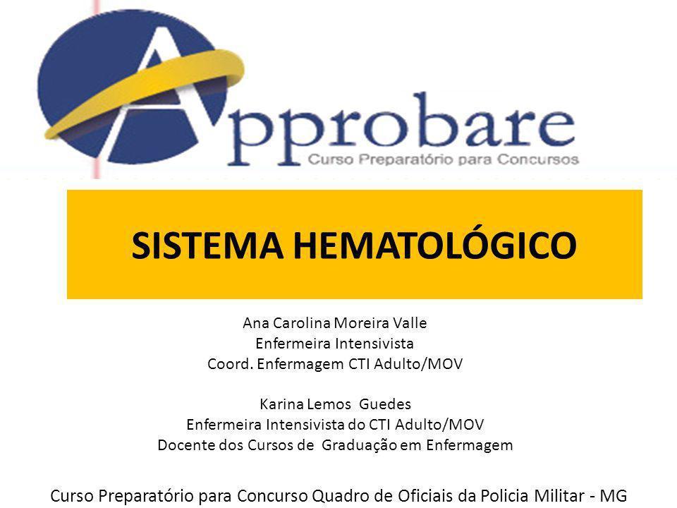SISTEMA HEMATOLÓGICO Ana Carolina Moreira Valle Enfermeira Intensivista Coord. Enfermagem CTI Adulto/MOV Karina Lemos Guedes Enfermeira Intensivista d
