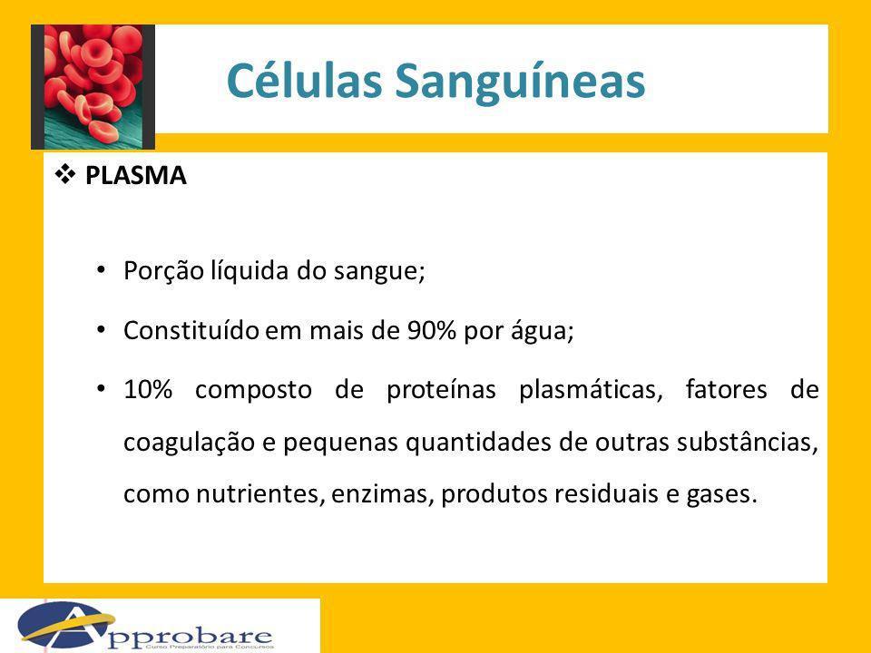 Células Sanguíneas PLASMA Porção líquida do sangue; Constituído em mais de 90% por água; 10% composto de proteínas plasmáticas, fatores de coagulação
