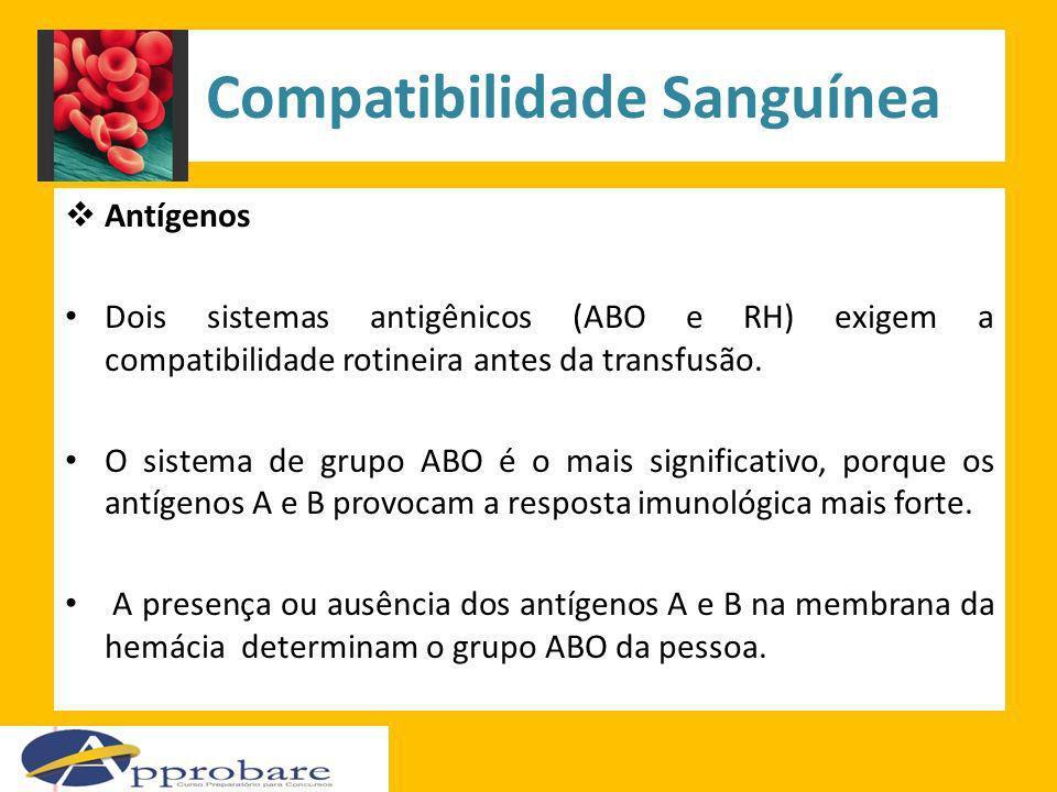 Compatibilidade Sanguínea Antígenos Dois sistemas antigênicos (ABO e RH) exigem a compatibilidade rotineira antes da transfusão. O sistema de grupo AB