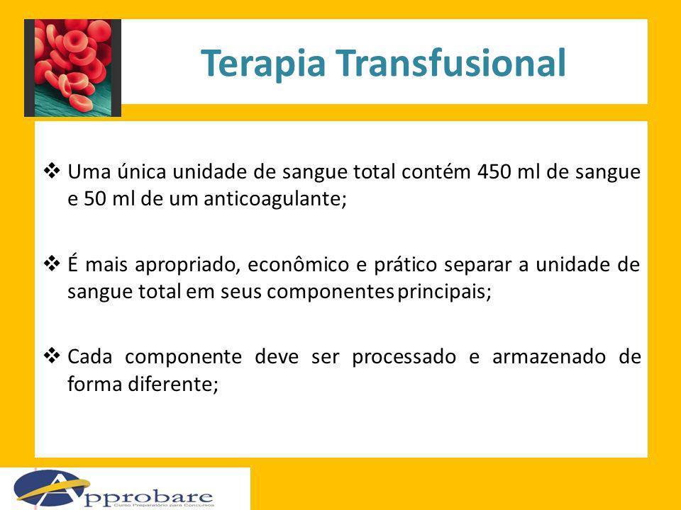 Terapia Transfusional Uma única unidade de sangue total contém 450 ml de sangue e 50 ml de um anticoagulante; É mais apropriado, econômico e prático s