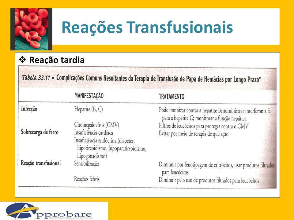 Reações Transfusionais Reação tardia