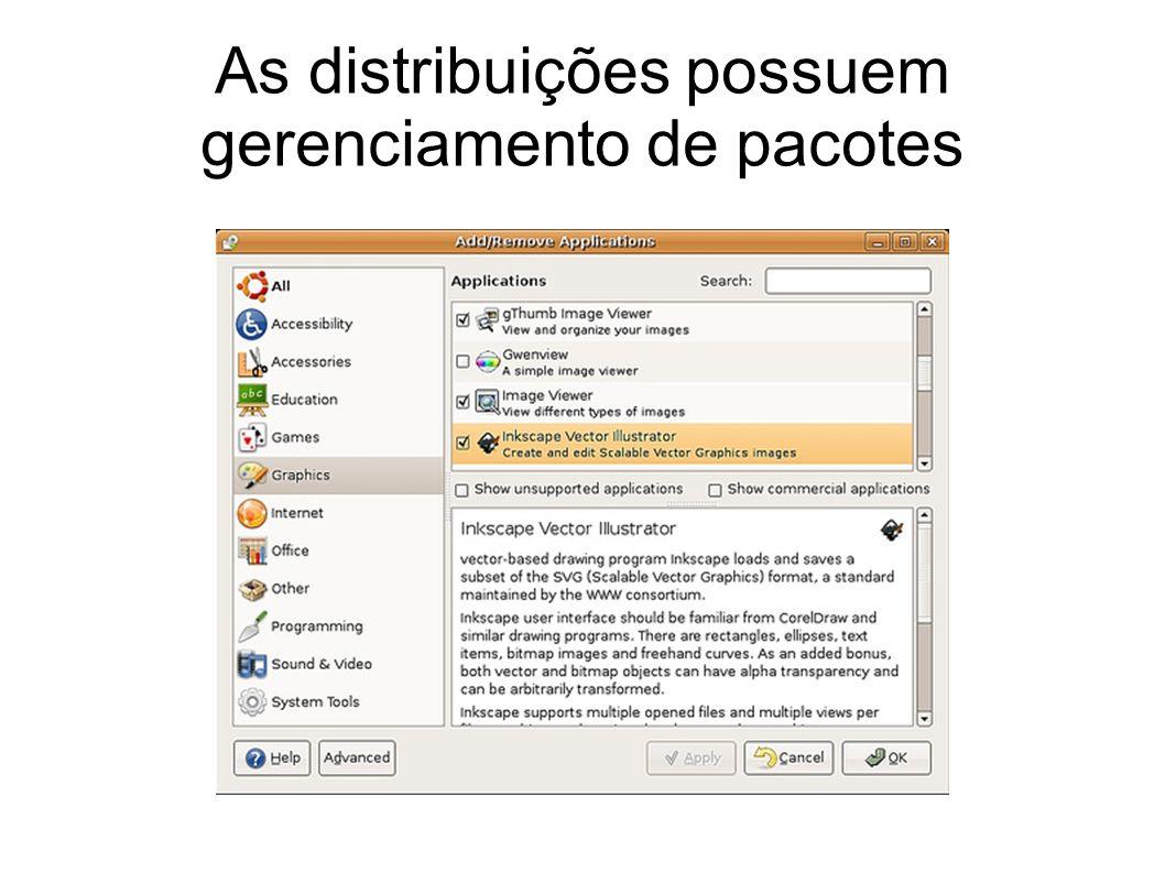 As distribuições possuem gerenciamento de pacotes