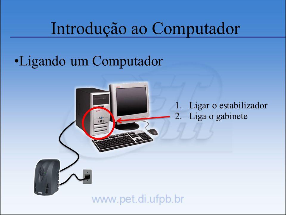 Introdução ao Computador Ligando um Computador 1.Ligar o estabilizador 2.Liga o gabinete