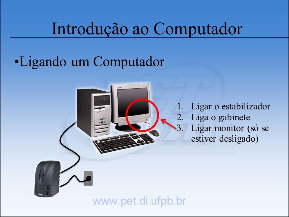 Introdução ao Computador Ligando um Computador 1.Ligar o estabilizador 2.Liga o gabinete 3.Ligar monitor (só se estiver desligado)