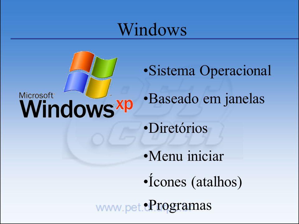 Windows Sistema Operacional Baseado em janelas Diretórios Menu iniciar Ícones (atalhos) Programas