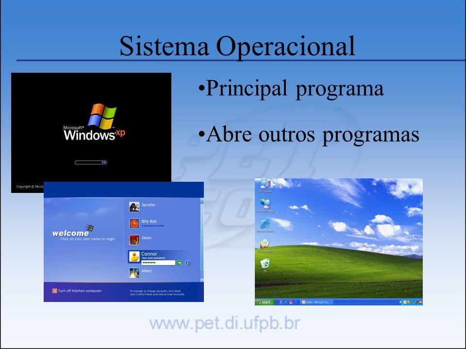 Sistema Operacional Principal programa Abre outros programas