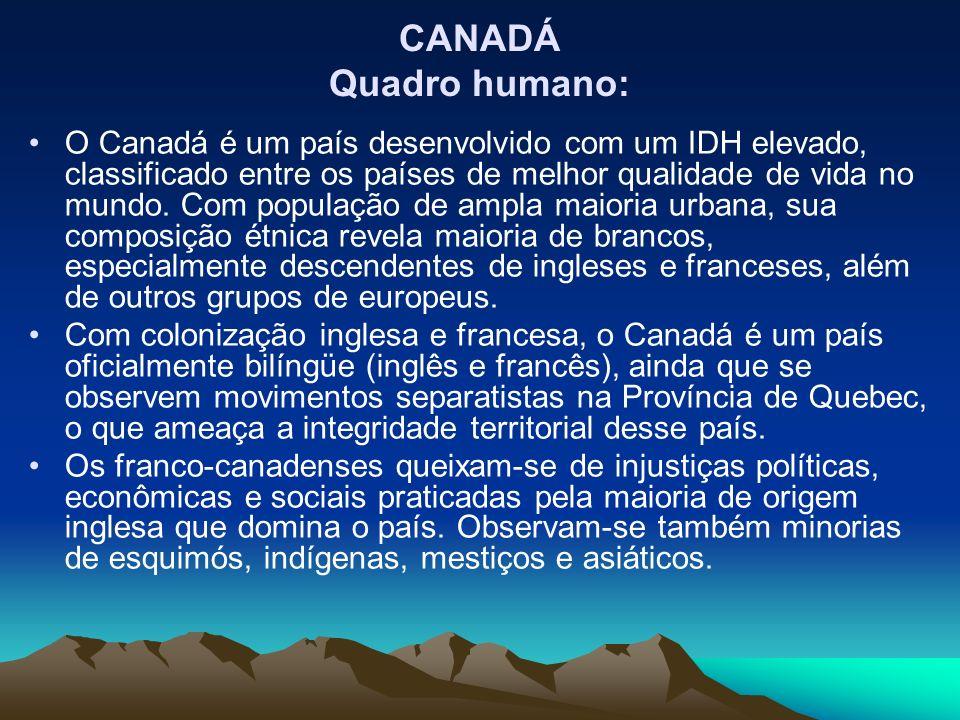 O Canadá é um país desenvolvido com um IDH elevado, classificado entre os países de melhor qualidade de vida no mundo. Com população de ampla maioria
