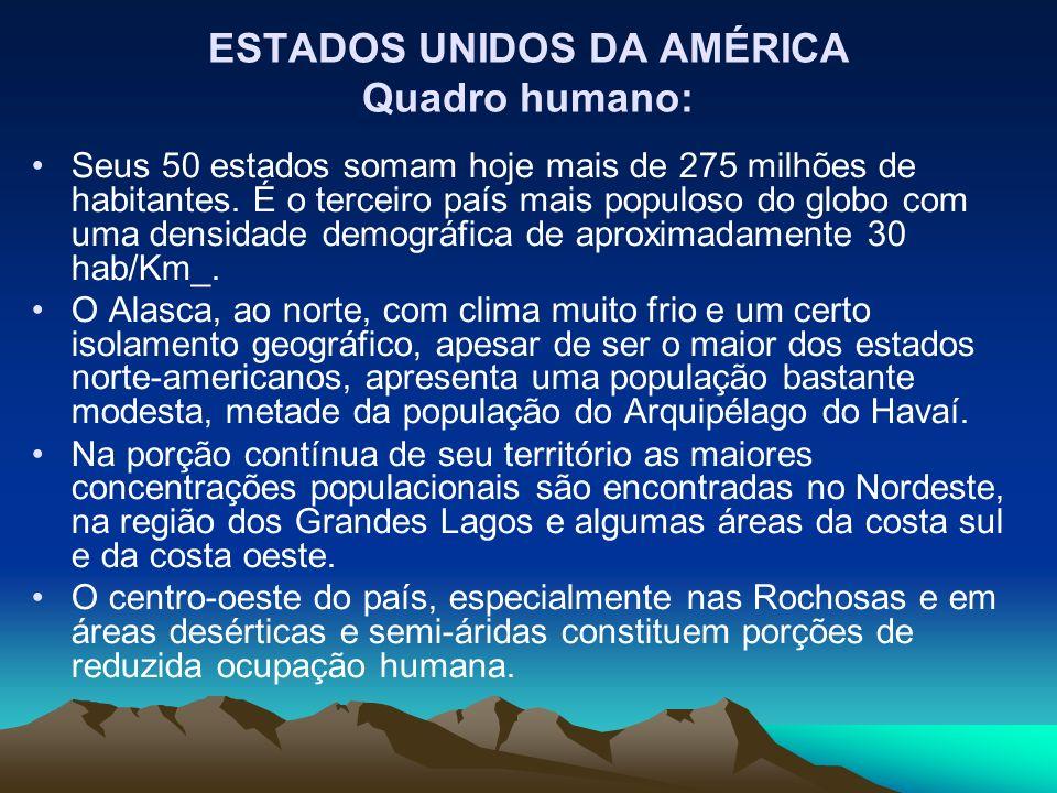 ESTADOS UNIDOS DA AMÉRICA Quadro humano: Seus 50 estados somam hoje mais de 275 milhões de habitantes. É o terceiro país mais populoso do globo com um