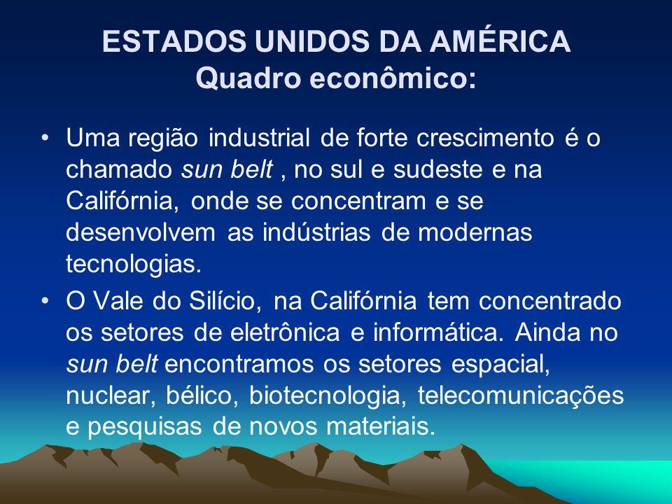 ESTADOS UNIDOS DA AMÉRICA Quadro econômico: Uma região industrial de forte crescimento é o chamado sun belt, no sul e sudeste e na Califórnia, onde se concentram e se desenvolvem as indústrias de modernas tecnologias.