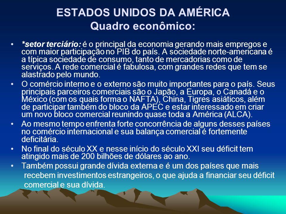 ESTADOS UNIDOS DA AMÉRICA Quadro econômico: *setor terciário: é o principal da economia gerando mais empregos e com maior participação no PIB do país.