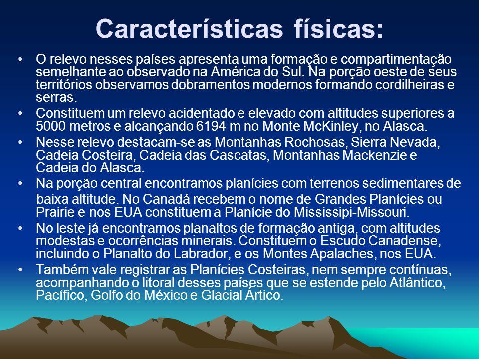 Características físicas: O relevo nesses países apresenta uma formação e compartimentação semelhante ao observado na América do Sul. Na porção oeste d