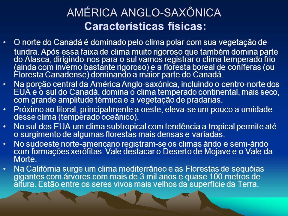 AMÉRICA ANGLO-SAXÔNICA AMÉRICA ANGLO-SAXÔNICA Características físicas: O norte do Canadá é dominado pelo clima polar com sua vegetação de tundra. Após