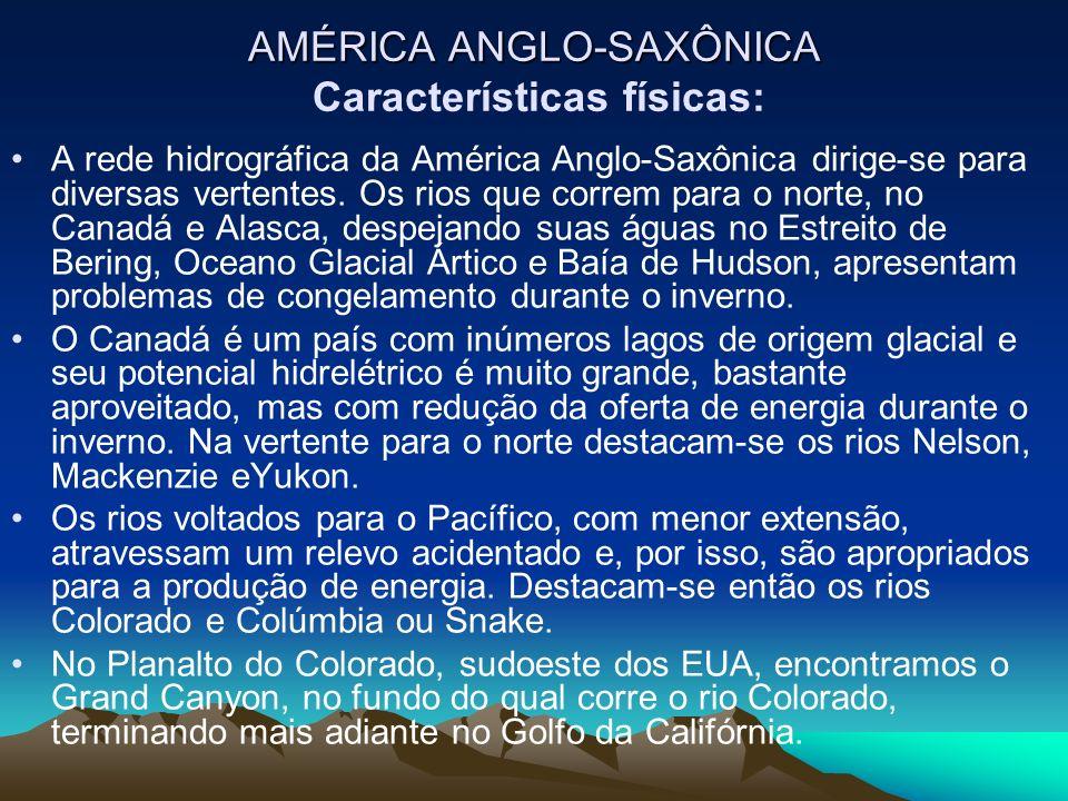 AMÉRICA ANGLO-SAXÔNICA AMÉRICA ANGLO-SAXÔNICA Características físicas: A rede hidrográfica da América Anglo-Saxônica dirige-se para diversas vertentes