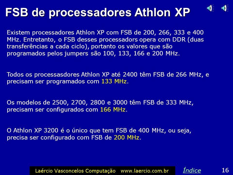 FSB do processador A maioria das placas de CPU atuais configura automaticamente a velocidade do FSB (clock externo do processador). Algumas exigem que
