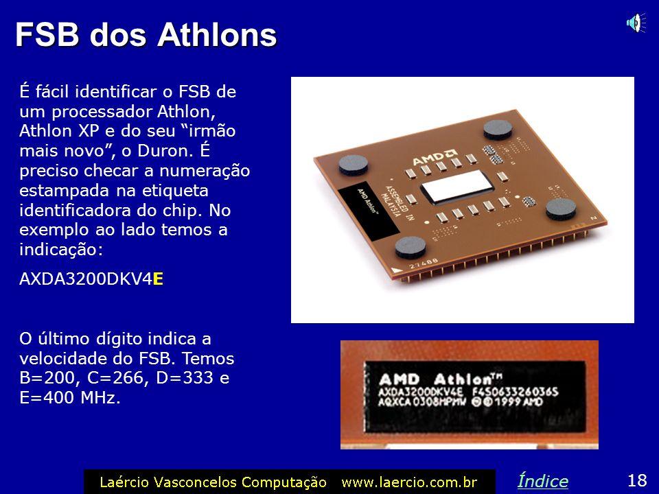 Athlon XP 2600 O Athlon XP 2600 é o único modelo deste processador que deixa margem a dúvidas. Existem dois modelos: Modelo C: FSB de 266 MHz (configu