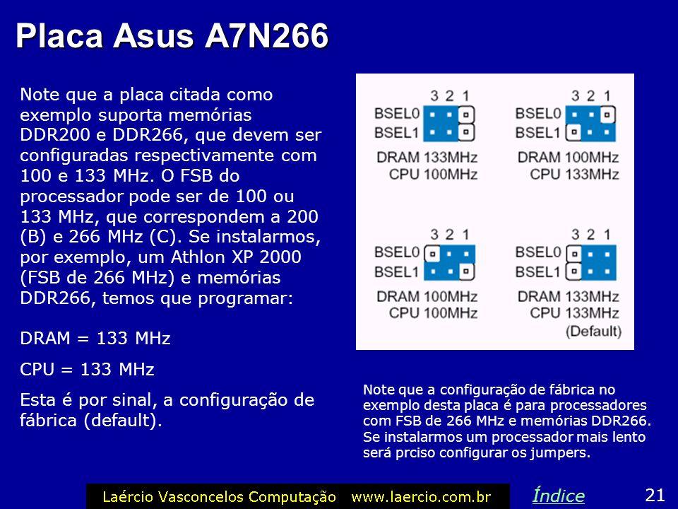 Exemplo: Asus A7N266 Esta placa de CPU tem dois jumpers que indicam o clock das memórias e o FSB do processador. Os valores permitidos são 100 e 133 M