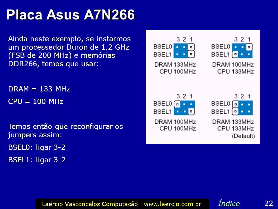 Placa Asus A7N266 Note que a placa citada como exemplo suporta memórias DDR200 e DDR266, que devem ser configuradas respectivamente com 100 e 133 MHz.