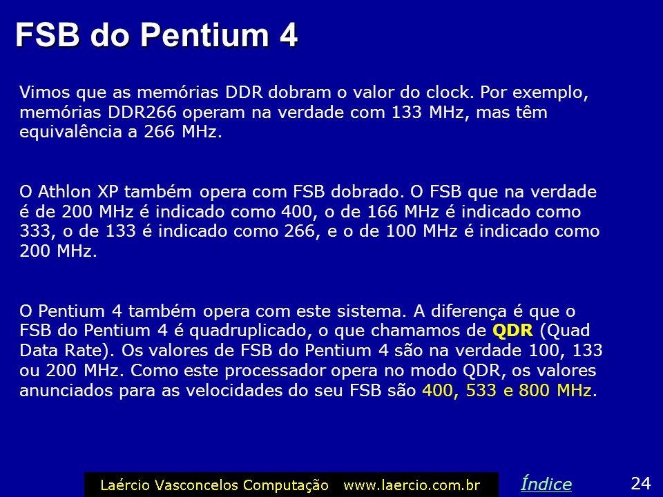 Último exemplo, A7N266 Considere agora que estamos instalando nesta placa um Athlon XP 1900 (FSB de 266 MHz), mas estamos aproveitando antigas memória