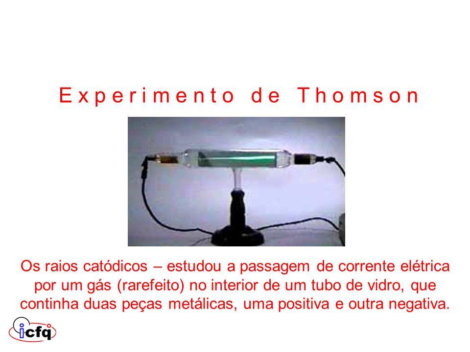 Os raios catódicos – estudou a passagem de corrente elétrica por um gás (rarefeito) no interior de um tubo de vidro, que continha duas peças metálicas