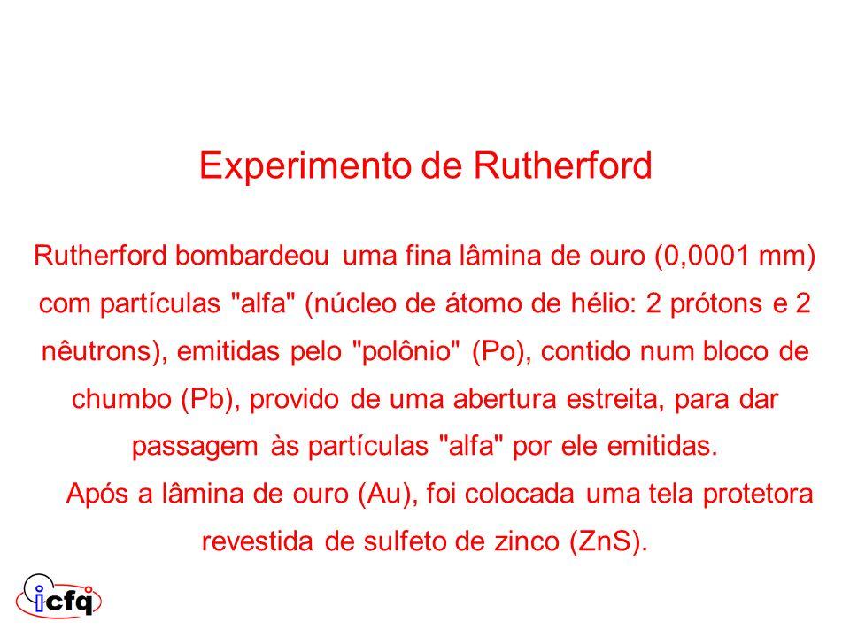 Rutherford bombardeou uma fina lâmina de ouro (0,0001 mm) com partículas