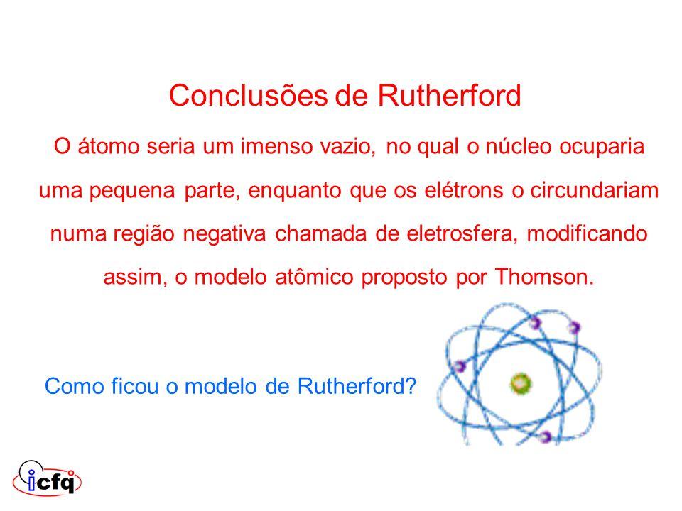 Conclusões de Rutherford O átomo seria um imenso vazio, no qual o núcleo ocuparia uma pequena parte, enquanto que os elétrons o circundariam numa regi