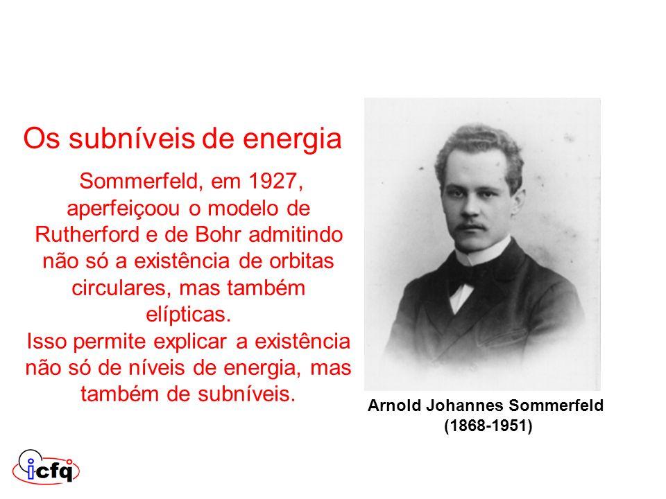 Sommerfeld, em 1927, aperfeiçoou o modelo de Rutherford e de Bohr admitindo não só a existência de orbitas circulares, mas também elípticas. Isso perm