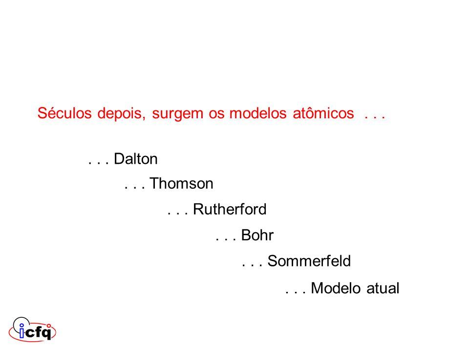 Séculos depois, surgem os modelos atômicos...... Dalton... Thomson... Rutherford... Bohr... Sommerfeld... Modelo atual