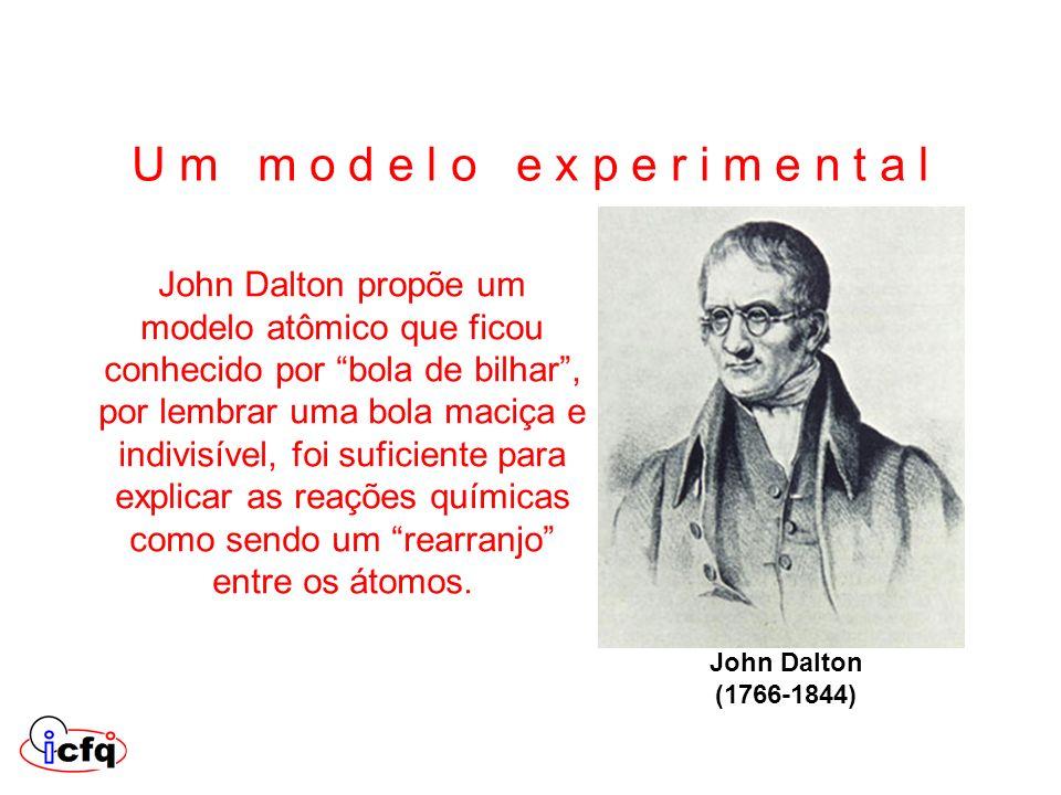John Dalton propõe um modelo atômico que ficou conhecido por bola de bilhar, por lembrar uma bola maciça e indivisível, foi suficiente para explicar a