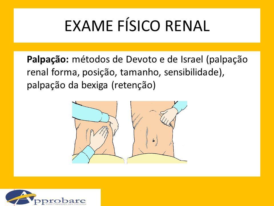 EXAME FÍSICO RENAL Palpação: métodos de Devoto e de Israel (palpação renal forma, posição, tamanho, sensibilidade), palpação da bexiga (retenção)