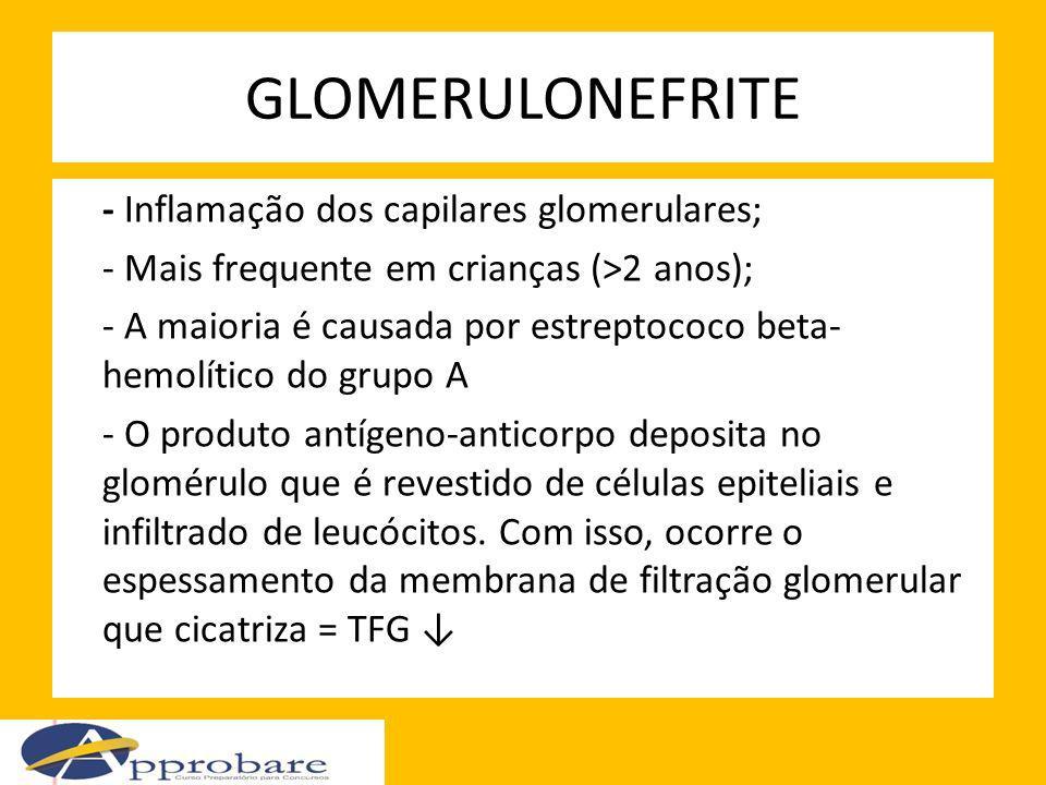GLOMERULONEFRITE - Inflamação dos capilares glomerulares; - Mais frequente em crianças (>2 anos); - A maioria é causada por estreptococo beta- hemolít