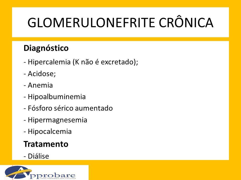 GLOMERULONEFRITE CRÔNICA Diagnóstico - Hipercalemia (K não é excretado); - Acidose; - Anemia - Hipoalbuminemia - Fósforo sérico aumentado - Hipermagne