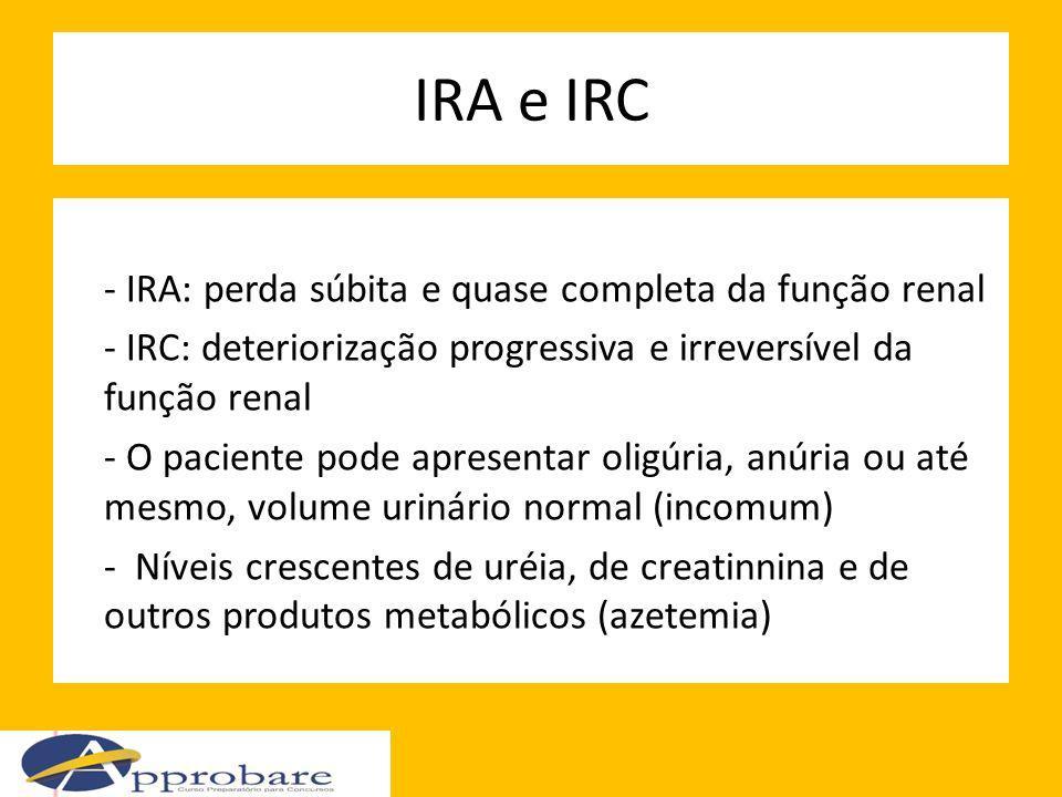 IRA e IRC - IRA: perda súbita e quase completa da função renal - IRC: deteriorização progressiva e irreversível da função renal - O paciente pode apre
