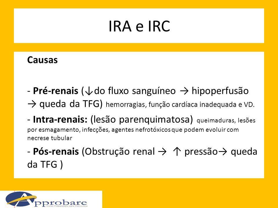 IRA e IRC Causas - Pré-renais (do fluxo sanguíneo hipoperfusão queda da TFG) hemorragias, função cardíaca inadequada e VD. - Intra-renais: (lesão pare