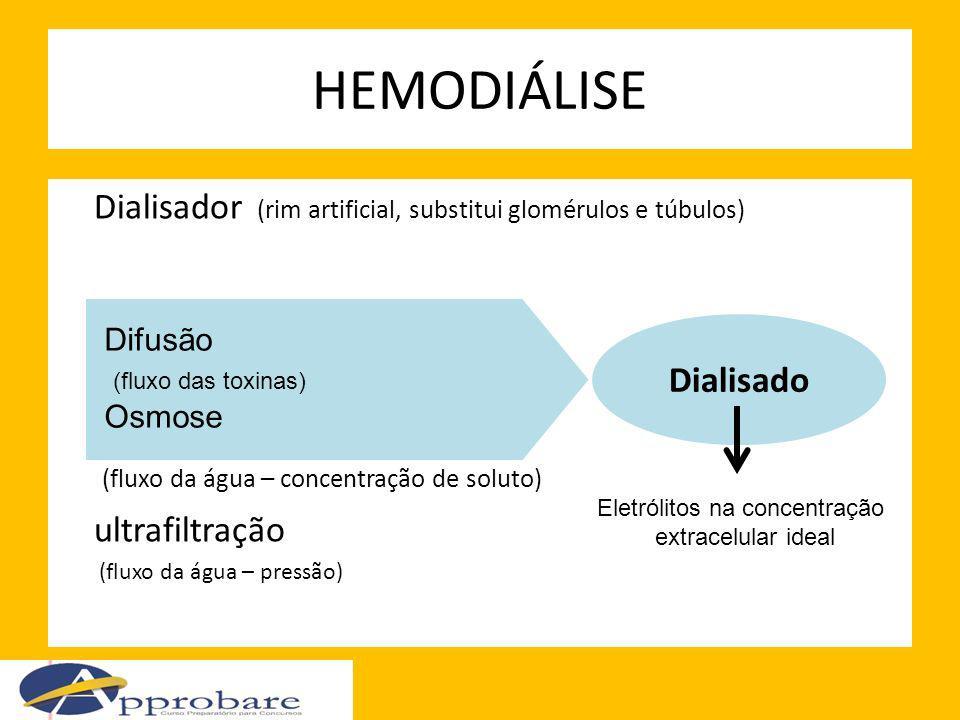 Dialisador (rim artificial, substitui glomérulos e túbulos) Difusão (fluxo das toxinas) Osmose (fluxo da água – concentração de soluto) ultrafiltração