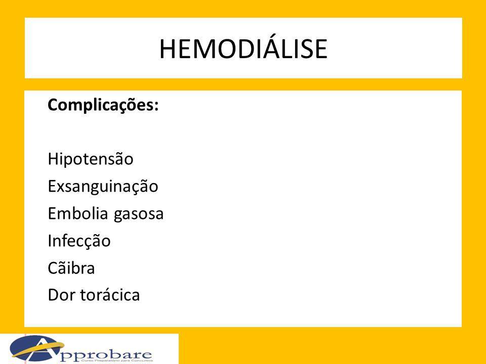 HEMODIÁLISE Complicações: Hipotensão Exsanguinação Embolia gasosa Infecção Cãibra Dor torácica