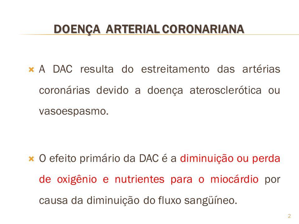2 A DAC resulta do estreitamento das artérias coronárias devido a doença aterosclerótica ou vasoespasmo. O efeito primário da DAC é a diminuição ou pe