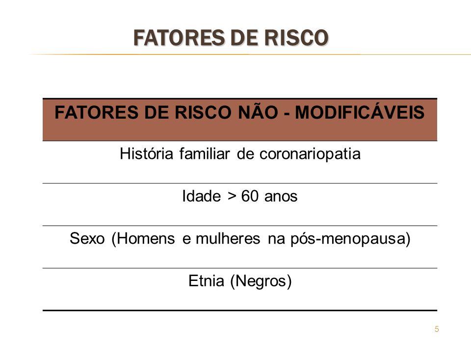 5 FATORES DE RISCO FATORES DE RISCO NÃO - MODIFICÁVEIS História familiar de coronariopatia Idade > 60 anos Sexo (Homens e mulheres na pós-menopausa) E