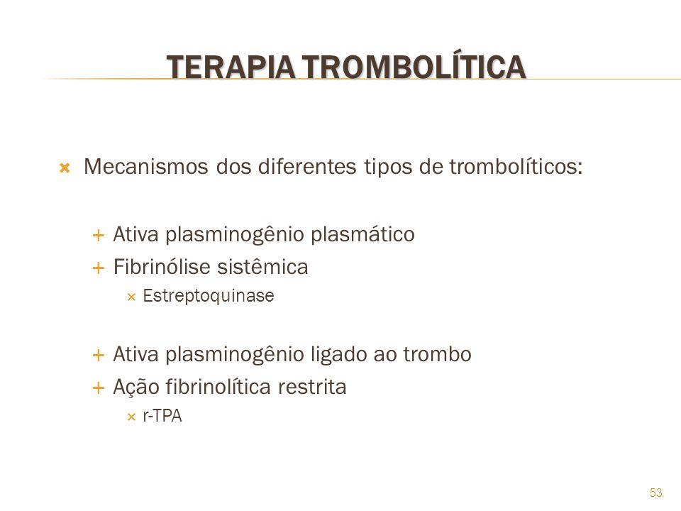 53 TERAPIA TROMBOLÍTICA Mecanismos dos diferentes tipos de trombolíticos: Ativa plasminogênio plasmático Fibrinólise sistêmica Estreptoquinase Ativa p