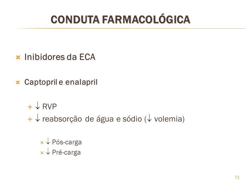 73 CONDUTA FARMACOLÓGICA Inibidores da ECA Captopril e enalapril RVP reabsorção de água e sódio ( volemia) Pós-carga Pré-carga