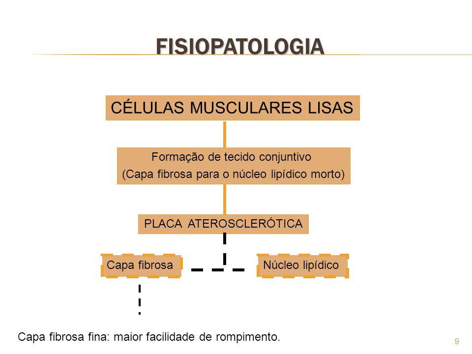 9 FISIOPATOLOGIA CÉLULAS MUSCULARES LISAS Formação de tecido conjuntivo (Capa fibrosa para o núcleo lipídico morto) PLACA ATEROSCLERÓTICA Capa fibrosa