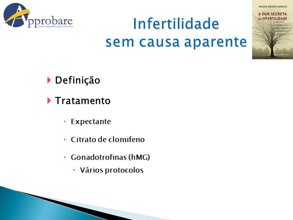 Definição Tratamento Expectante Citrato de clomifeno Gonadotrofinas (hMG) Vários protocolos