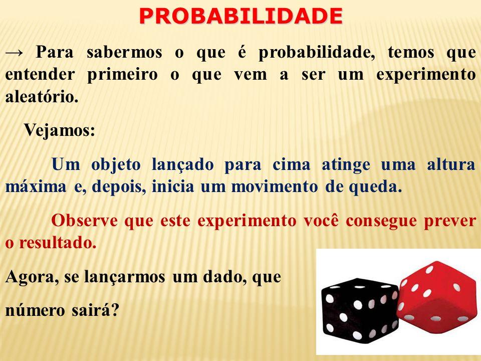 PROBABILIDADE Para sabermos o que é probabilidade, temos que entender primeiro o que vem a ser um experimento aleatório.