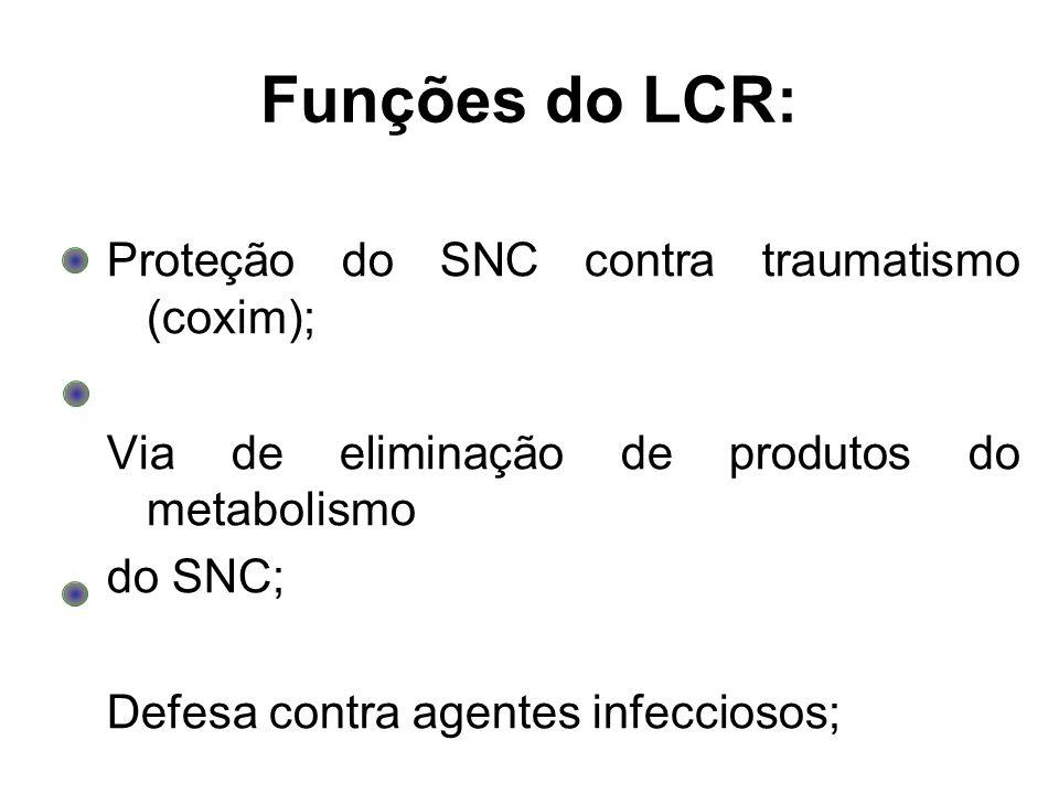 Funções do LCR: Proteção do SNC contra traumatismo (coxim); Via de eliminação de produtos do metabolismo do SNC; Defesa contra agentes infecciosos;