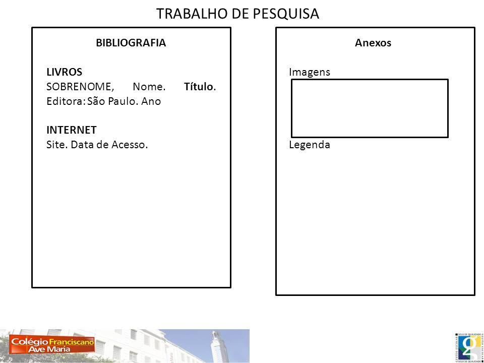 TRABALHO DE PESQUISA BIBLIOGRAFIA LIVROS SOBRENOME, Nome. Título. Editora: São Paulo. Ano INTERNET Site. Data de Acesso. Anexos Imagens Legenda