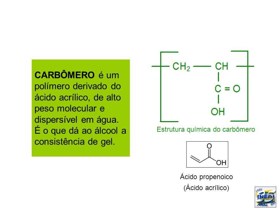 CARBÔMERO é um polímero derivado do ácido acrílico, de alto peso molecular e dispersível em água. É o que dá ao álcool a consistência de gel. Ácido pr