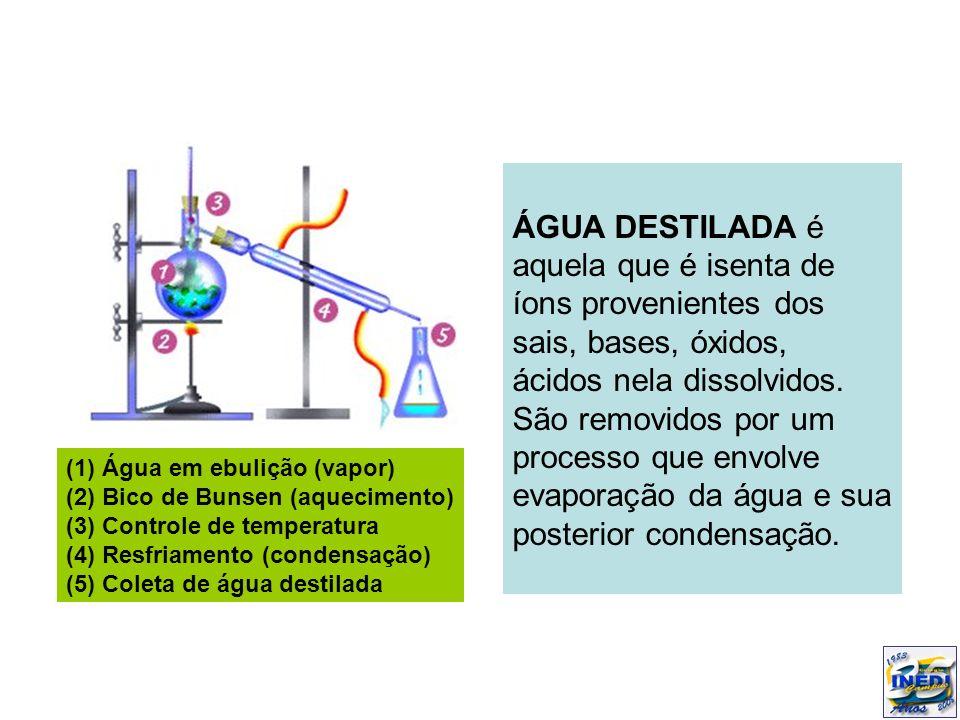 ÁGUA DESTILADA é aquela que é isenta de íons provenientes dos sais, bases, óxidos, ácidos nela dissolvidos. São removidos por um processo que envolve