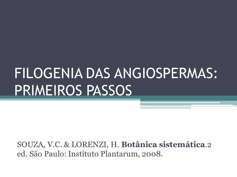 FILOGENIA DAS ANGIOSPERMAS: PRIMEIROS PASSOS SOUZA, V.C. & LORENZI, H. Botânica sistemática.2 ed. São Paulo: Instituto Plantarum, 2008.