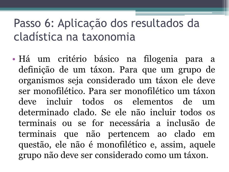Passo 6: Aplicação dos resultados da cladística na taxonomia Há um critério básico na filogenia para a definição de um táxon. Para que um grupo de org
