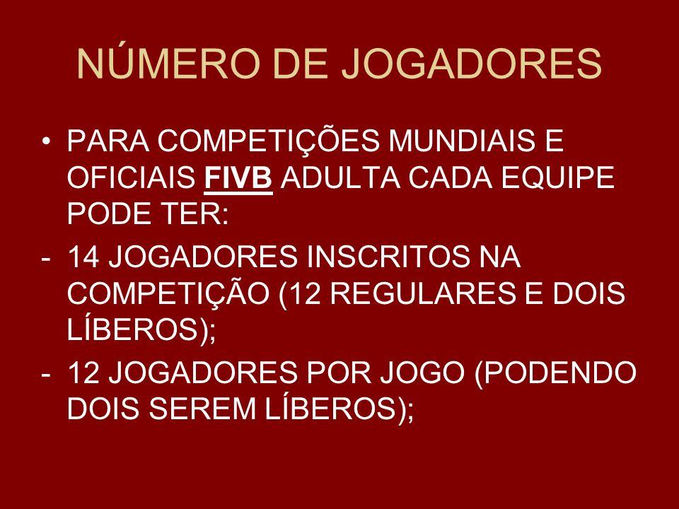 NÚMERO DE JOGADORES PARA COMPETIÇÕES MUNDIAIS E OFICIAIS FIVB ADULTA CADA EQUIPE PODE TER: -14 JOGADORES INSCRITOS NA COMPETIÇÃO (12 REGULARES E DOIS LÍBEROS); -12 JOGADORES POR JOGO (PODENDO DOIS SEREM LÍBEROS);